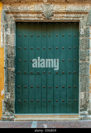 Close-up of old doors Cartagena, Colombia - Stock Image