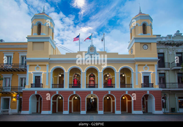 City Hall Building at Plaza de Armas, San Juan, Puerto Rico - Stock Image