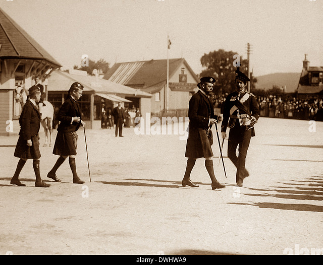 King George V and two of his children (probably the Prince of Wales and Albert) - Stock Image