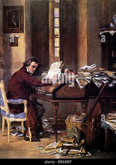 Beethoven, Ludwig van, 17.12.1770 - 26.3.1827, German composer, half length, at work, history painting by Carl Schloesser, - Stock Image