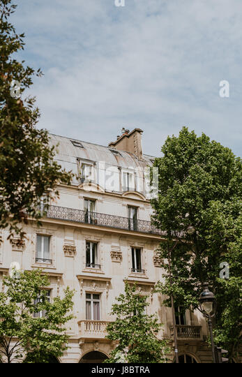 Typical building in Paris with gray rooftops - Stock-Bilder