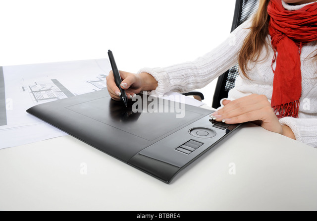 hand on graphic tablet. - Stock Image