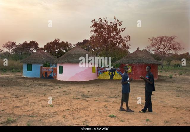 Round thatched guest house tradionally built of mud, Larabanga, Northern Ghana, - Stock Image
