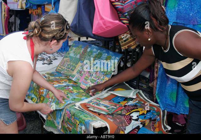 BVI Tortola Tent Village Road Town Cruise Port paintings for sale Black female - Stock Image