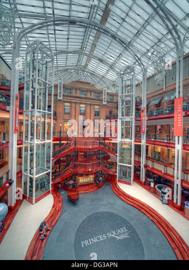 Princes Square Shopping Centre Interior Glasgow City Centre Strathclyde Scotland UK - Stock Image