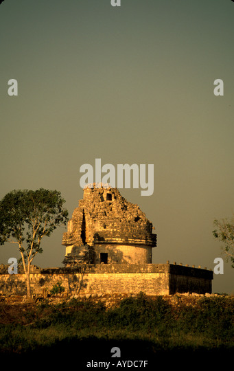 Mexico Yucatan Chichen Itza The Observatory - Stock Image