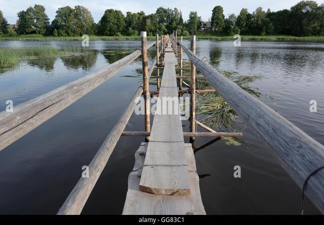 Lamprey weirs.  Special design footbridge for unique fishing technique. Salacgriva. Latvia - Stock Image