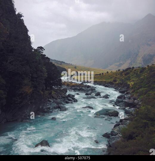 New Zealand Glacial River - Stock Image