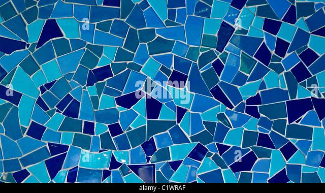 Blue mosaic tiled background. - Stock Image