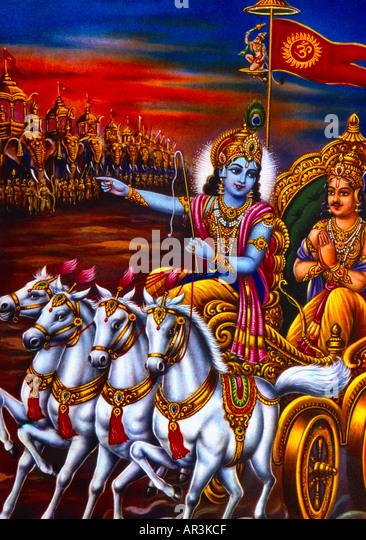 Arjuna In Chariot Hindu God - Stock Image