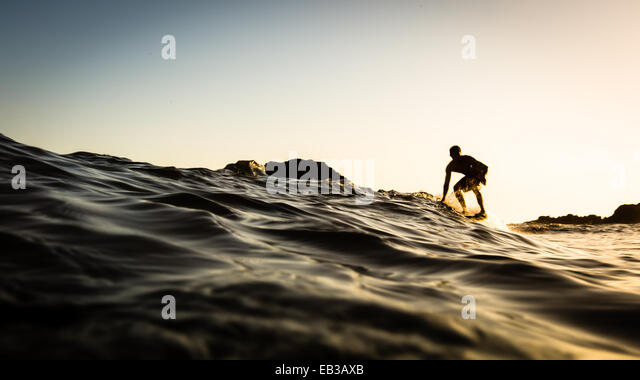 USA, California, Los Angeles County, Malibu, Surfer at sunset - Stock-Bilder