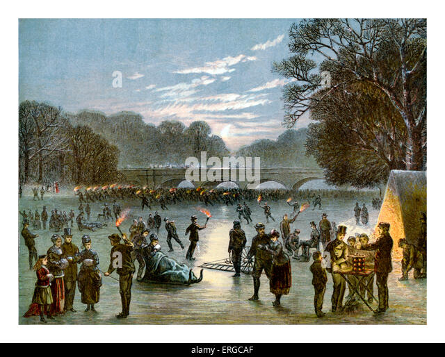Entertainment on frozen Serpentine, 1 January 1870. Serpentine River, lake in Hyde Park, London. - Stock Image