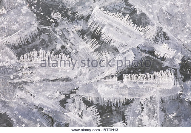 Close up of ice crystals from overflow ice on Eagle River in Chugach State Park in Southcentral Alaska - Stock Image