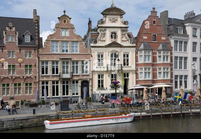 Baroque style Flemish architecture along the Graslei, Ghent, Belgium, Europe - Stock-Bilder