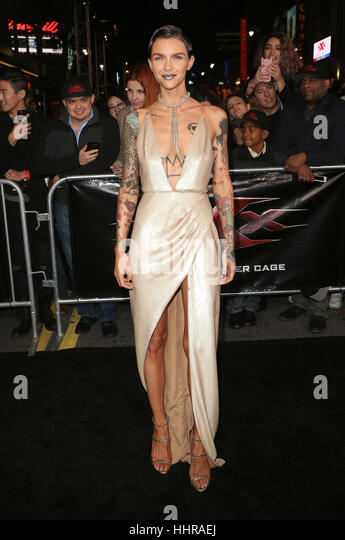 Hollywood, USA. 19th Jan, 2017. Ruby Rose seen attending the 'xXx: Return Of Xander Cage' Los Angeles premiere - Stock Image