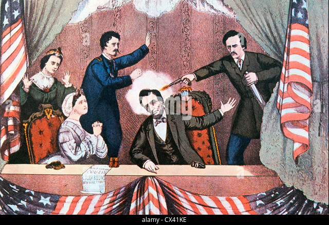 Assassination of President Abraham Lincoln by John Wilkes Booth - Stock Image