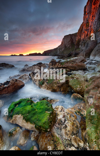 Larrybane on the antrim captured at sunrise. northern Ireland. - Stock Image
