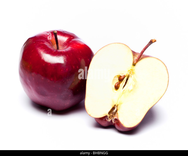 Red apples whole and halved - Stock Image