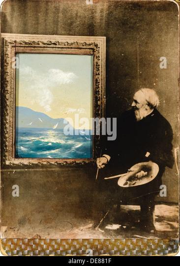 Portrait of the artist Ivan Aivazovsky (1817-1900), 1889. Artist: Anonymous - Stock Image