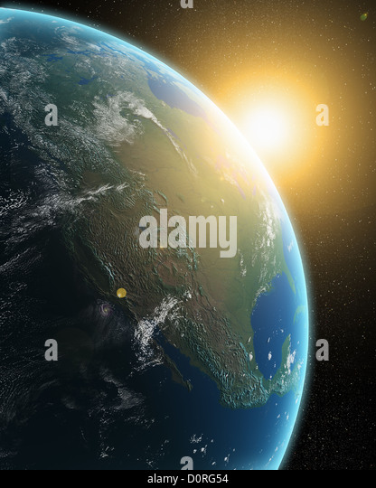 View of the Earth from outer space - Stock Image