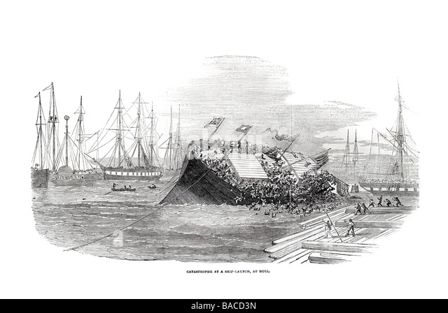 catastrophe at ship launch at hull docks harbour River Humber foreign trading port 1854 - Stock Image