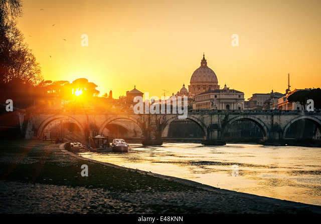 St. Peter's cathedral at sunset, Rome - Stock Image