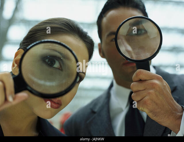 Couple, loupes, icon, search, observation monitoring, computer, virus protection, Security, security, search, view, - Stock Image