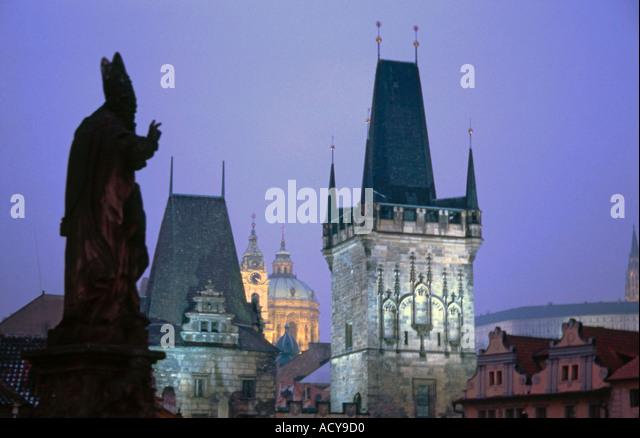 Czech Republic Prague Charles Bridge Statue twilight - Stock Image