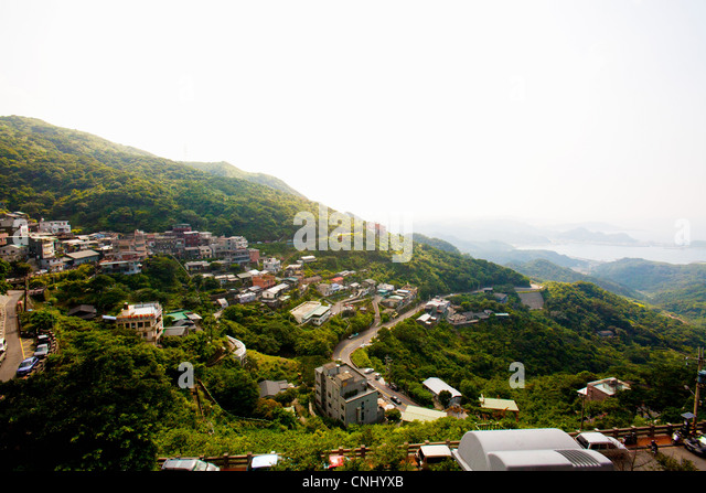 Mountain view of Jinguashi, former mining town, Ruifang District, New Taipei, Taiwan - Stock Image