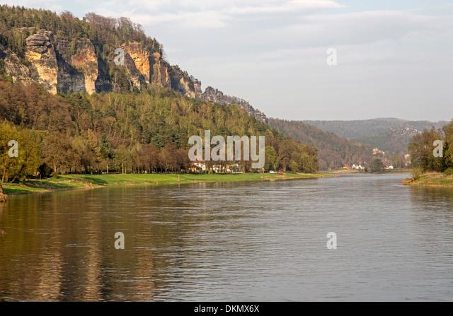 The Elbe in Elbe Sandstone Mountains, Saxon, Germany, Europe - Stock-Bilder