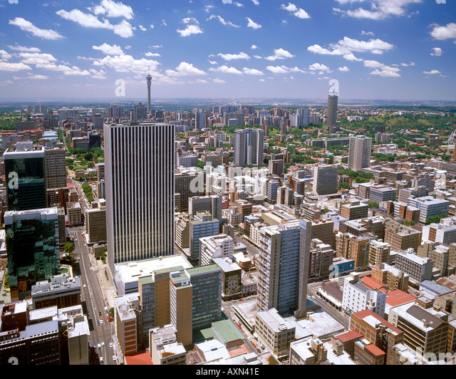 A view of the Johannesburg CBD and the northern suburbs as seen from the top floor of the Carlton Centre. - Stock Image