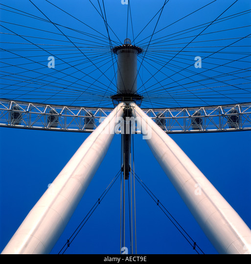 The London Eye viewed from the base of the structure designed by British architects David Marks and Julia Barfield - Stock Image