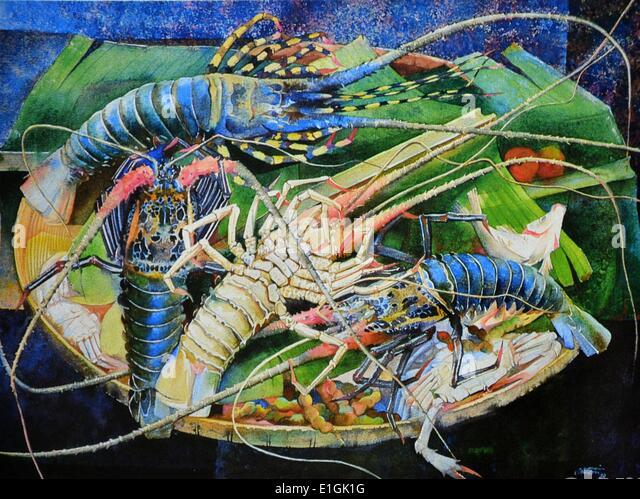 Ephraim Samson, Still Life with Lobsters, 1980. Watercolour. - Stock Image