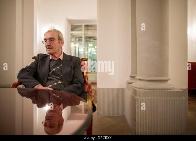 Stanislav Petrov, retired Soviet Lieutenant-Colonel, looks on during an interview in a hotel in Dresden, Germany, - Stock Image