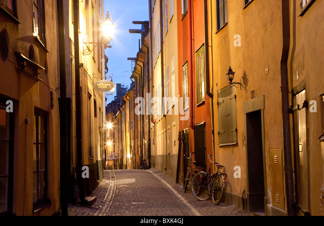Historic old street in Gamla Stan Old Town in Stockholm Sweden - Stock Image