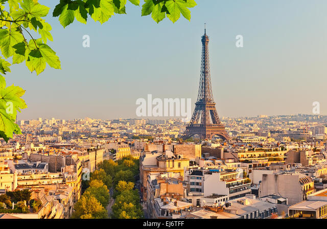 View on Eiffel tower at sunset - Stock Image
