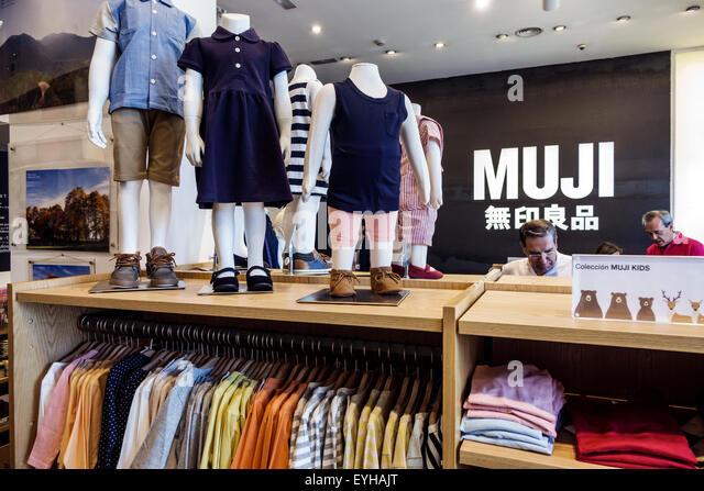 Madrid Spain Europe Spanish Recoletos Salamanca Calle de Goya Muji business retail company Japanese brand store - Stock Image