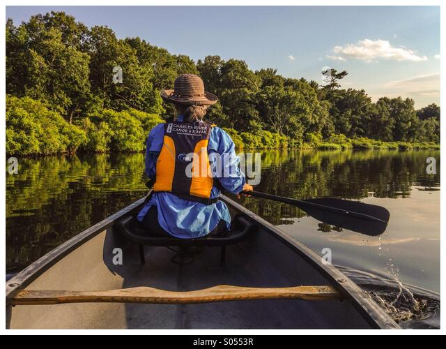 Canoeing on the Charles River in Boston,MA - Stock Image