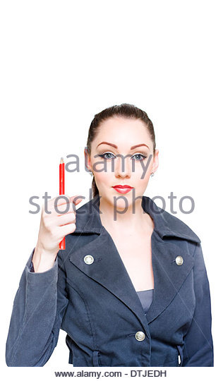 Attractive Young Business Woman Gesturing Business In On The Rise When Pointing Up To Blank Text Copyspace With - Stock Image