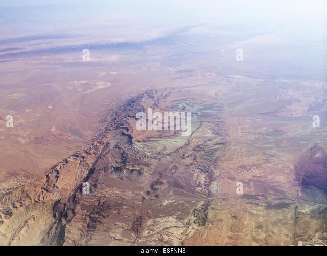 Iran, Kurdistan, Aerial view of Zagros mountains range - Stock Image