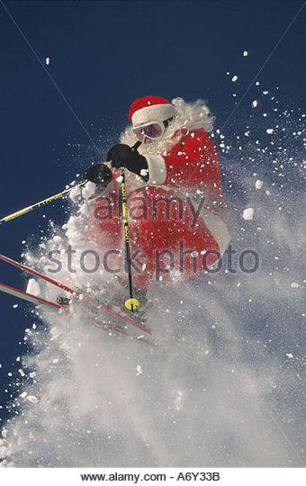 Santa Claus Downhill Skiing Big Mountain Resort Montana - Stock Image