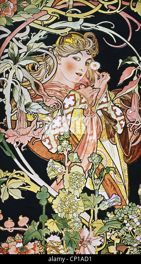 fine arts, Mucha, Alphonse (1860 - 1939), poster, circa 1900, ornament, ornaments, Art Nouveau, woman with flower, - Stock Image