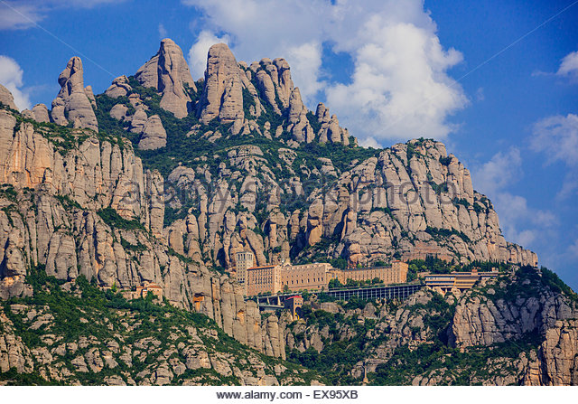 Spain, Catalonia, Barcelona Province, Montserrat - Catalonia, Rock formation and Monastery Santa Maria de Montserrat. - Stock Image