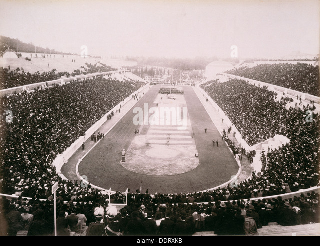 View of the first modern Olympic Games in Athens, 1896. Artist: Unknown - Stock Image