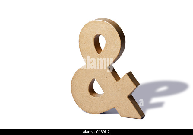 Photo of a recycled cardboard ampersand or and on a white background with shadow. - Stock Image