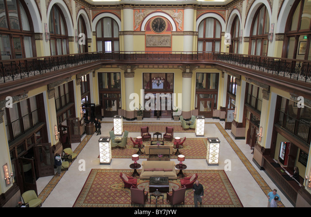 Nashville Tennessee Wyndham Union Station Nashville Grand Hotel 1900 lobby restored renovated historic former railroad - Stock Image
