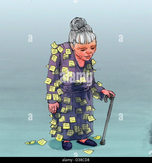 Illustrative image of elderly woman with sticky notes attached on clothing representing Alzheimer's disease - Stock Image