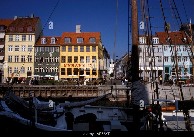 Nyhavn Canal, Nyhavn District, city of Copenhagen, Denmark - Stock Image