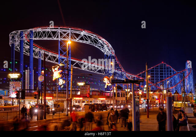Blackpool Pleasure Beach and promenade during the annual Blackpool Illuminations, Lancashire, England. - Stock Image