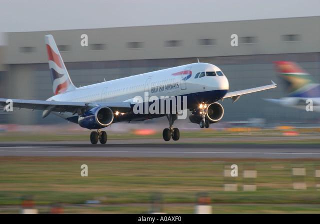 Airbus A321 British Airways landing at London Heathrow LHR EGLL UK England - Stock Image